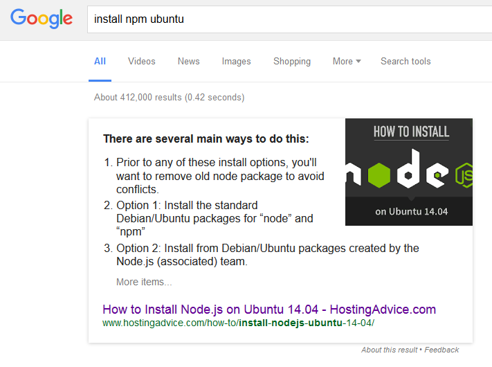 npm install ubuntu
